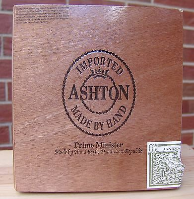 Ashton Double Prime Minister Wood Cigar Box Great Condition 7.5 x 7.5 x 2 1/4""