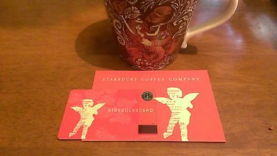 NEW! MINT 2002 STARBUCKS CUPID Gift Card & Matching Sleeve 15 Years Old