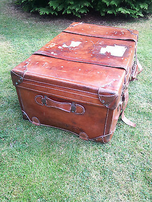 20s Art Deco Leather suitcase Orient Express Steamer Trunk, Downton Abbey Era...