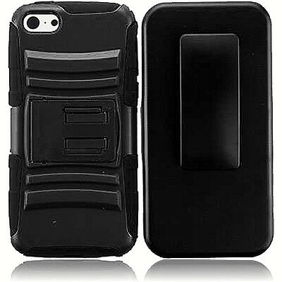 For iPhone 5/SE Dual Layer Rugged Holster Clip Stand Armor Case + Tempered Glass