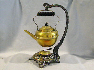 Antique BRADLEY & HUBBARD TEA POT WITH HEATER STAND