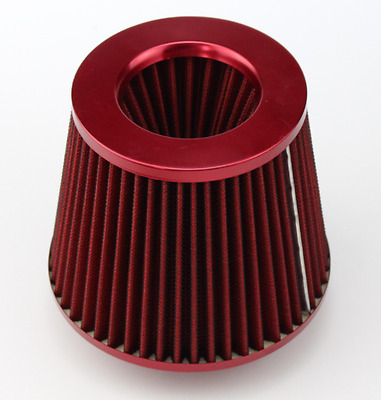 """RED UNIVERSAL 3/"""" 76mm SMALL AIR FILTER FOR SATURN//CHEVY SHORT//COLD AIR INTAKE"""