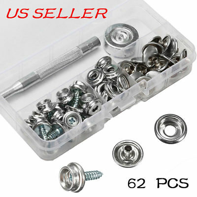 62PCS Snap Fastener Kit Cover bimini Canvas Snap Stainless Steel Canopy Fittings