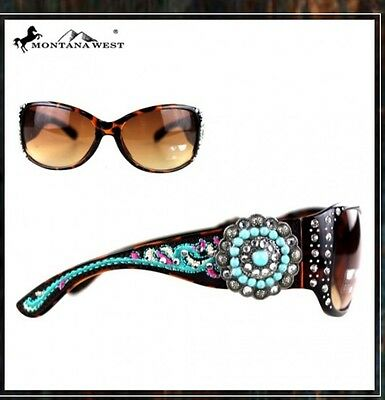 e06929512a43 Western Montana West Embroidery Floral Concho Collection Sunglasses Leopard