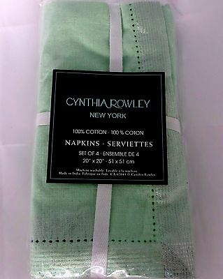 Cynthia Rowley New York Set of 4 Mint Green Cloth Napkins 100% Cotton New