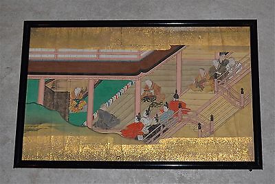 Antique Japanese Painting Pigments Gold on Paper Framed Tosa? School #2