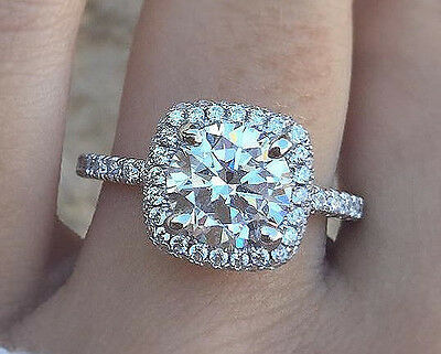 2.60 Ct Round Brilliant Cut Diamond Cushion Halo Pave Engagement Ring H,SI1 EGL