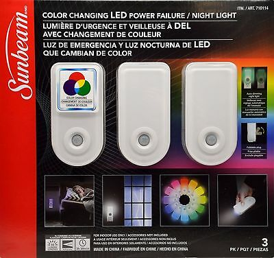 Sunbeam 3 Pack Multi-Colored Color Changing LED Power Failure Night Light No TAX