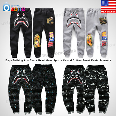 Bape A Bathing Ape Shark Head Mens Sports Casual Cotton Sweat Pants Trousers