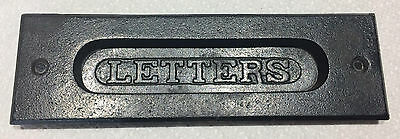 "Vintage  ""LETTERS""  Cast Iron MAIL BOX SLOT DOOR COVER* ANTIQUE"