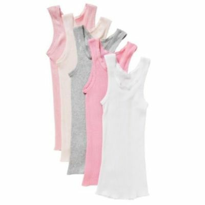 5 x BONDS BABY VESTS Ribbed Singlets Chesty White Blue Pink CLEARANCE 0000-2