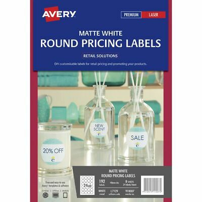 Bulk Buy - 3 x Avery Matte White Round Pricing Labels 40mm 192 Pack