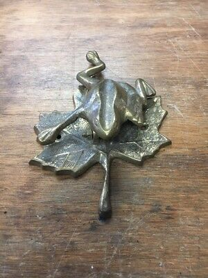 Vintage Brass Frog on Leaf Door Knocker