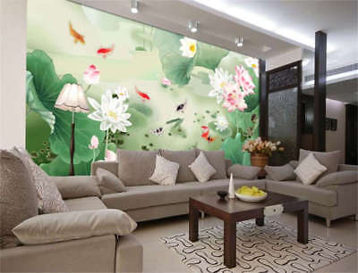 Lotus Paint Goldfish Full Wall Mural Photo Wallpaper Printing 3D Decor Kids Home