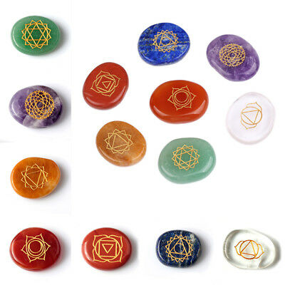 7Colors Engraved Seven Chakra Mark Stone Palm stone Crystal Reiki Healing