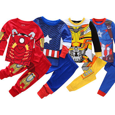 0-8Y Kids Boys Iron Man Captain America Pyjamas Outfits Sleepwear Nightwear