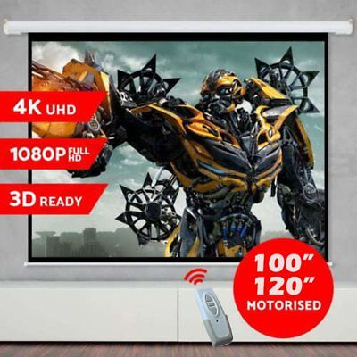 "100"" 120"" Inch Projector Screen Portable Electric Motorised TV Projection 3D OZ"