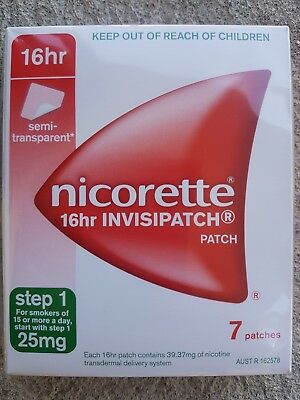 3 boxes of 7 Nicorette step 1 25mg transparent quit smoking patches NRT