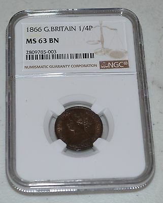 1866 Farthing Great Britain Graded by NGC as MS 63 BN
