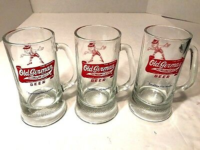 3 Vtg Old German Beer Glass Stein Mugs Swallow the Leader Red / Clear 12 oz EUC