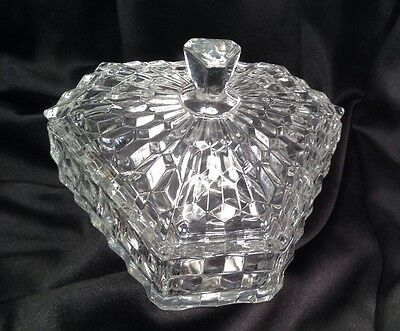 Vintage Fostoria American Triangular Covered Candy Box Dish Divided #2056