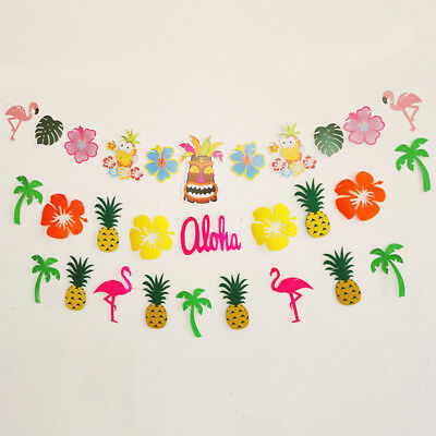 Summer Hawaiian Tropical Flamingo Pineapple Banners Garland Bunting Party ES