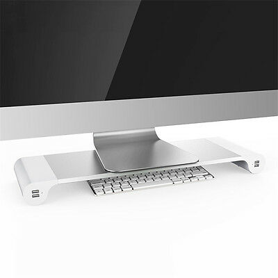 Monitor Stand Space Bar Desk Organizer with 4 USB Ports for PC Laptop iMac