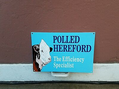 Polled Hereford sign cow pig corn Farm Seed Feed Gas Oil Barn
