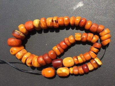 Antique NATURAL Milky EGG YOLK BALTIC AMBER BEADS NECKLACE  老琥珀 51.6g