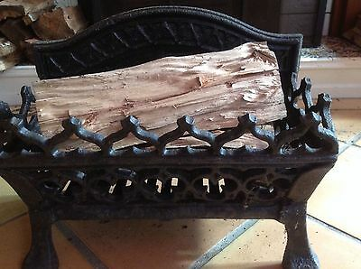 Antique cast iron fireplace grate ornate fire basket