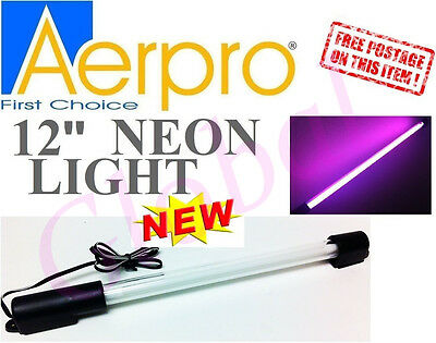 "Aerpro LU14P 12"" 280MM PURPLE DAZZLING NEON LIGHT ROD CAR INTERTOR w/ adapter"