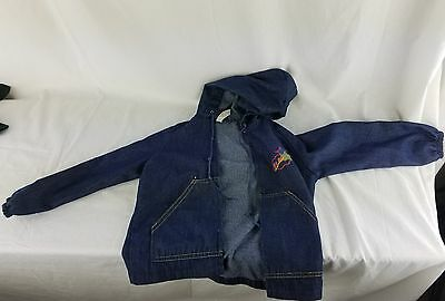 70s, 80s Vintage Toddler Health-tex 6 denim blue jean jacket hooded boys FLASH