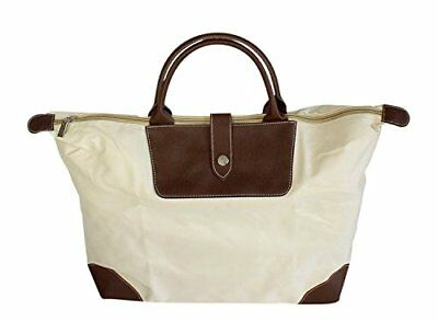 Large Size Canvas Zippered Folding Tote Bag with Snap Strap Roomy Cargo Space To