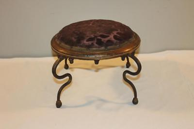 Rare Form Victorian Tapestry Wood and Cast Iron Foot Stool-BL