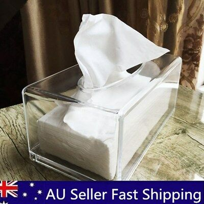 Clear Acrylic Tissue Box Paper Cover Convenient Home Bathroom Auto Storage Case