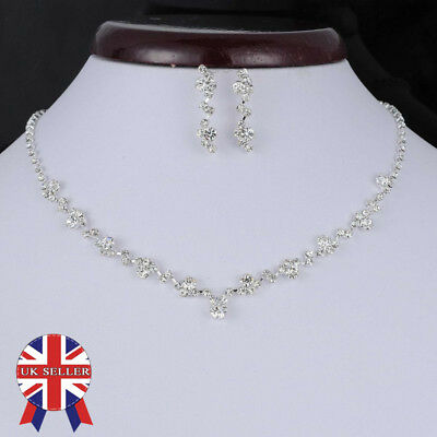 Casual Bridesmaid Crystal Necklace Earrings Set Wedding Bridal Jewelry Jewellery