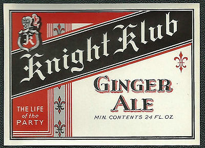 Vintage 1930's Knight Club Ginger Ale Soda Label NOS - St. Louis MO