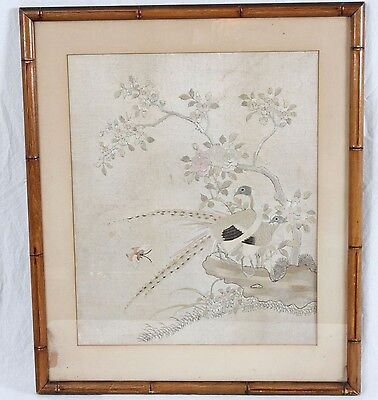 Antique Vintage 20th c. Chinese Silk Embroidery Pheasant Bird Faux Bamboo Frame