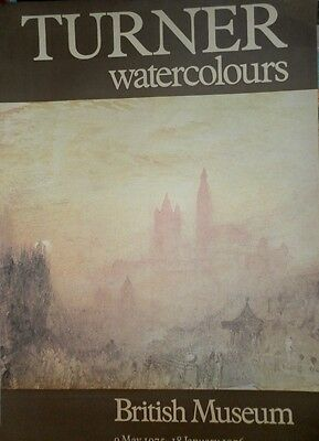 "VINTAGE ""TURNER WATERCOLOURS"" EXHIBITION POSTER BRITISH MUSEUM 1976 60X75 cm."