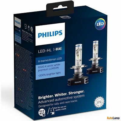 PHILIPS X-tremeUltinon LED-HL H4 12V +200% brighter 6500K Headlight 12901HPX2
