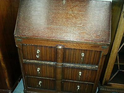 "perfect Edwardian linenfold fitted oak bureau only 30"" wide, now reduced price"