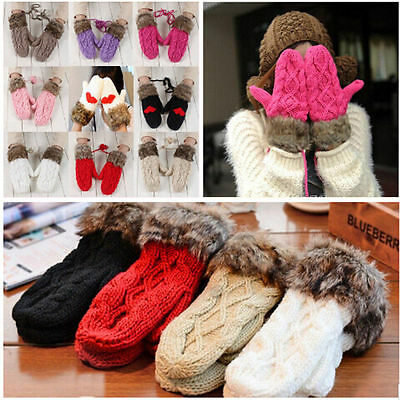 Women's Winter Warm Knit Gloves Warmer Mittens Finger Gloves New Fashion USA