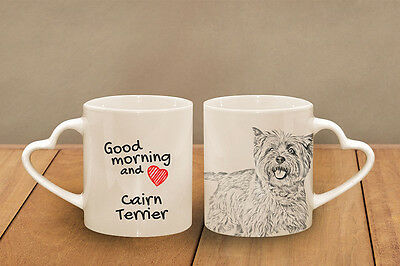 "Cairn Terrier - ceramic cup, mug ""Good morning and love, heart"", USA"