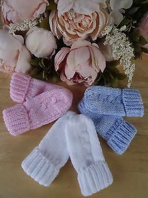 Baby Boy Girl White Blue Pink Grey Beige Cable Knit No Thumb Turn Up Mittens OS