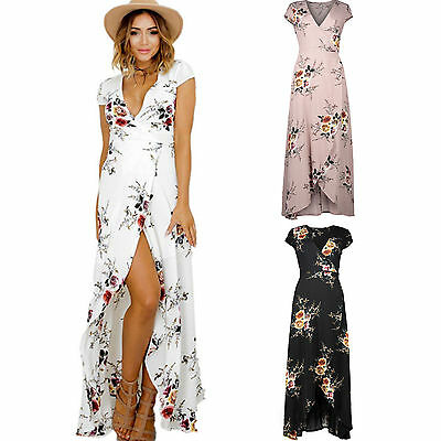 Women Cocktail Party Maxi Boho Long Dress Floral Beachwear Summer Split Sundress