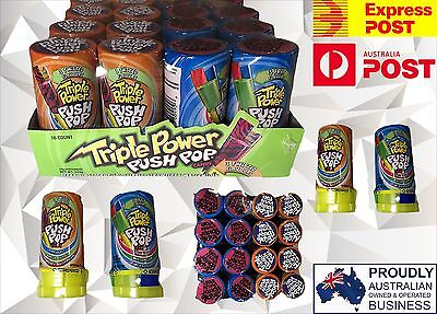 544g BOX OF 16 x TRIPLE PUSH POWER POP CANDY, 3 TWISTED FLAVOURS FUN LOLLIES
