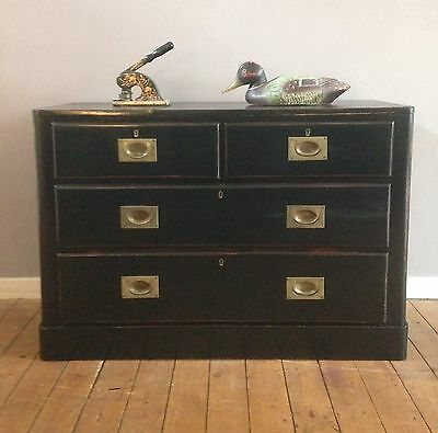 Victorian ebonised Campaign chest of drawers, Haberdashery.