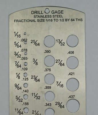 Gauge SIZE DRILL BITS sizer tool metal bit accessories inches millimeters chart