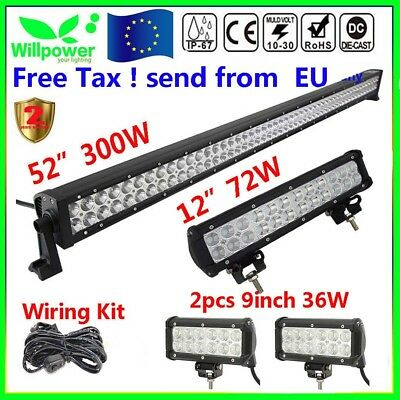 """52Inch LED Light Bar Combo + 12""""+7"""" CREE PODS FOR OFFROAD SUV 4WD ATV FORD JEEP"""