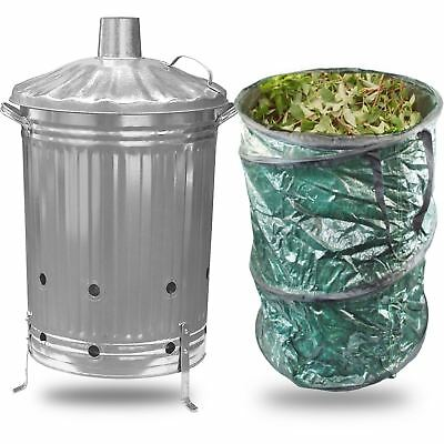 Large 90L Litre Garden Incinerator Burning Fire Bin Pit Waste Burner 90L Bag